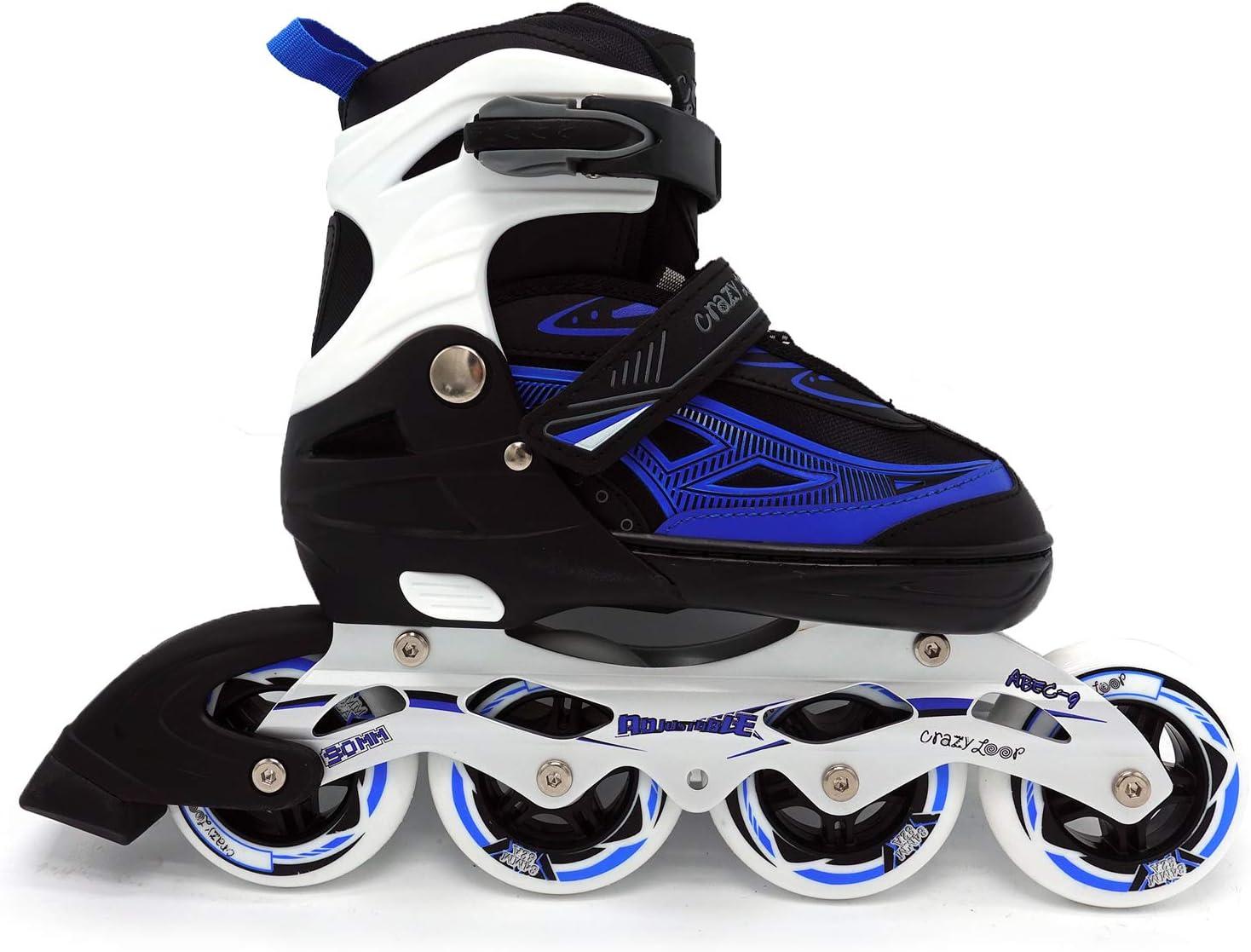 Blue Child Adolescent Adults Rollerblades Sizes Adjustable Women Inline Skates , Three Big Wheels