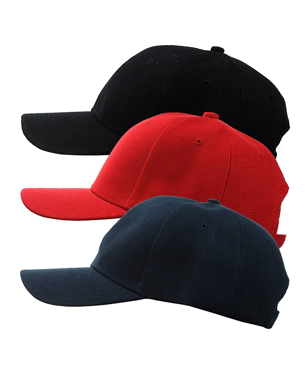 NYfashion101 Men s Adjustable Plain Velcro Baseball Cap Set of 3 ... 3dedf4706694