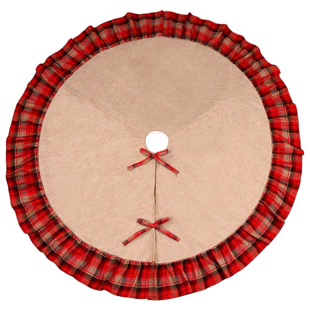 WHYQZ Buffalo Plaid Christmas Tree Skirt New Year Christmas Decorations for Home Christmas Tree Decorations