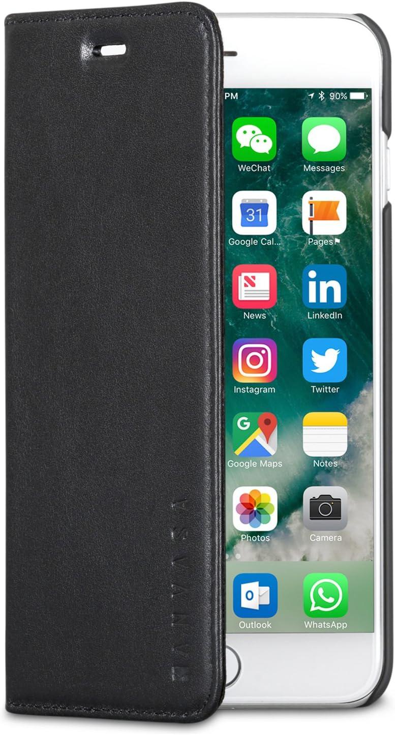 iPhone 8 Plus Leather Case/iPhone 7 Plus Leather Case Flip Cover Black - KANVASA Pro Premium Genuine Leather Wallet Book Folio Case for The Original iPhone 8 Plus & 7 Plus - with Magnetic Closure