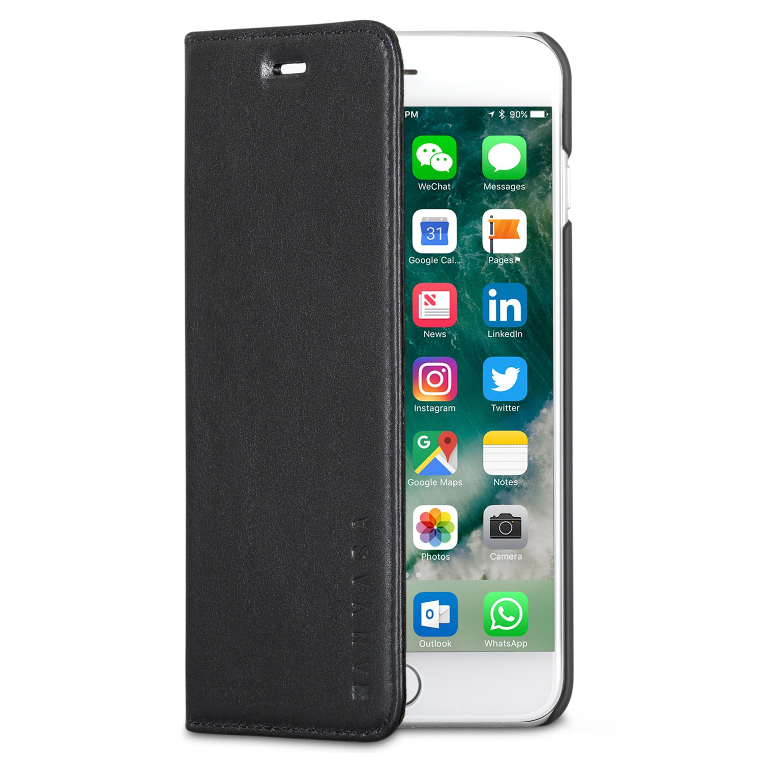 KANVASA Funda iPhone 8 Plus/Funda iPhone 7 Plus Tipo Libro Piel Negra Case Cover Carcasa Plegable Cartera Pro en Piel Auténtica Premium para Apple iPhone 8 ...