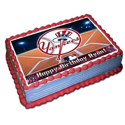 Marvelous New York Yankees Mlb Personalized Cake Topper Icing Sugar Paper 1 Funny Birthday Cards Online Benoljebrpdamsfinfo