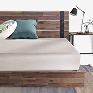 ZINUS Brock Metal and Wood Platform Bed Frame / Solid Acacia Wood Mattress Foundation / No Box Spring Needed / Easy Assembly, Twin