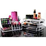 Cosmetic Organizer And Makeup Storage - Best Clear Acrylic Case For Your Beauty Products & Jewelry - This Box Acts as a Great Holder For All of Your Make-Up Items and You Will Love It! - Backed By 100% No-Risk Guarantee