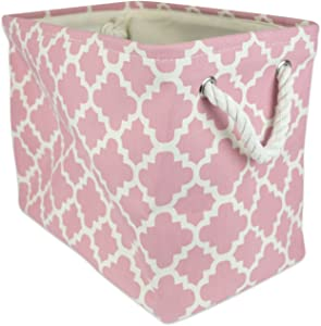 """DII Collapsible Polyester Storage Basket or Bin with Durable Cotton Handles, Home Organizer Solution for Office, Bedroom, Closet, Toys, & Laundry (Large – 17.75x12x15""""), Rose Lattice"""