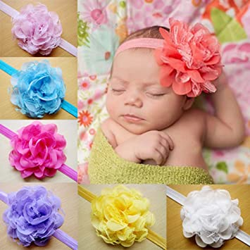 CHN S 10pcs Bbay Girl Infant Lace Flower Headband Kids Children Toddler  Hairband Hair Tie Headwear Accessories 4e6c2e7d893