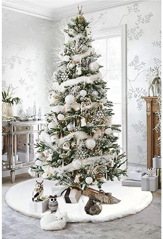 amazon com fdy my faux fur christmas tree skirt 36 inches elegant pure white xmas holiday tree skirts for christmas tree decorations home kitchen fdy my faux fur christmas tree skirt 36 inches elegant pure white xmas holiday tree skirts for christmas tree decorations