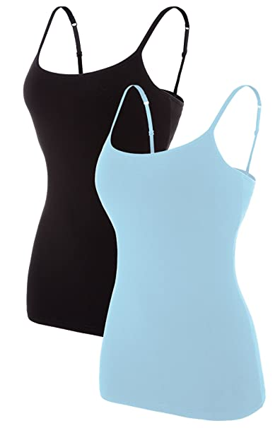 83c27f6d97edcb ALove 2 Pack Women Basic Tank Tops Casual Camisole Cami Top 2 Pack Smal