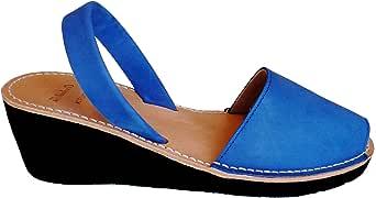 Menorquin Avarcas Menorquinas Menorcan Sandals with Wedge/Platform of 4.8 cm, Avarcas Menorquinas, Leather, Abarcas