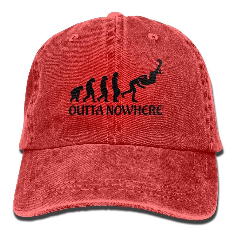 Qevenon-08 Men's/Women's Wrestling Outta No Where Cotton Denim Baseball Cap Adjustable Hat by Qevenon-08