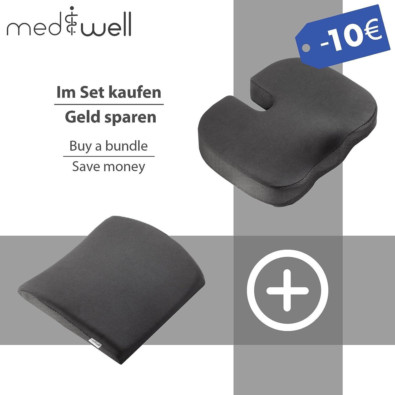 MEDIWELL Almohada lumbar ortopédica para silla de oficina | Cojin de apoyo lumbar | Cojín dorsal ergonómico que reduce el dolor y mejora la postura ...