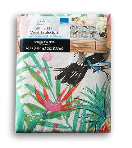 Summer Tropical Toucan Pattern Rectangular Vinyl Tablecloth (60 X 84 Inches)