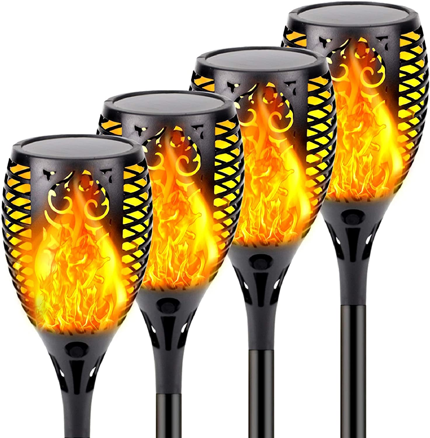 4-Pack Solar Lights Outdoor, Upgraded 33 LED Solar Torch Light with Flickering Flame for Christmas Decorations, Waterproof Landscape Decoration Lights for Pathway Garden - Dusk to Dawn Auto On/Off