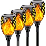 4-Pack Solar Lights Outdoor, Upgraded Brighter 33 LED Solar Torch Light with Flickering Flame, Waterproof Landscape…