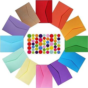 4,6 x 3,2 Pulgadas de Sobres Autoadhesivos Coloridos Pequeños para Tarjeta de
