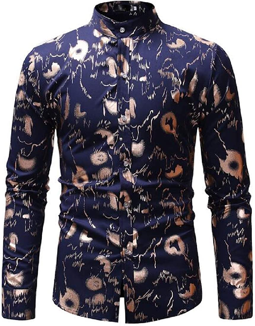 CRYYU Men Shirts Long Sleeve Stand Collar Printed Button Up Dress Shirts
