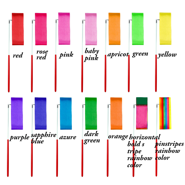 Aneco 14 Piezas Cintas de Baile Streamers Gimnasia R/ítmica Varitas de Cinta para Ni/ños Baile Art/ístico 14 Colores Baton Twirling