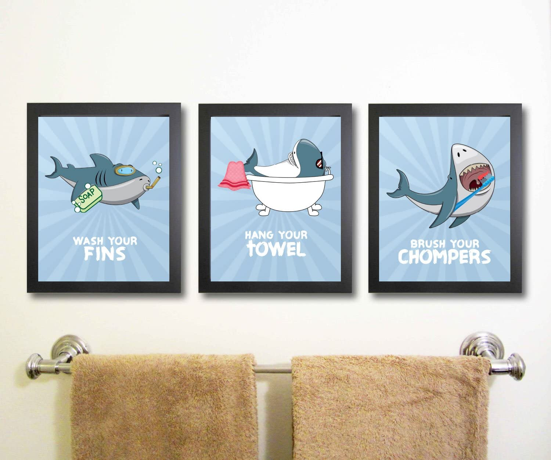 Amazon Com Fun Shark Themed Children Bathroom Wall Decor Set Of Three Wash Fins Hang Towel Brush Chompers No Frames Posters Prints