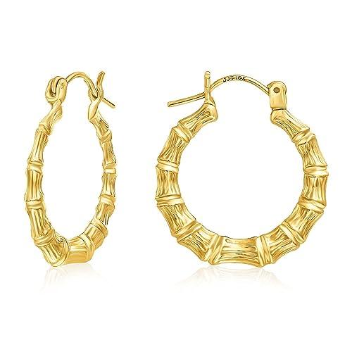 Amazon Com Mcs Jewelry 10 Karat Yellow Gold Bamboo Style Hoop