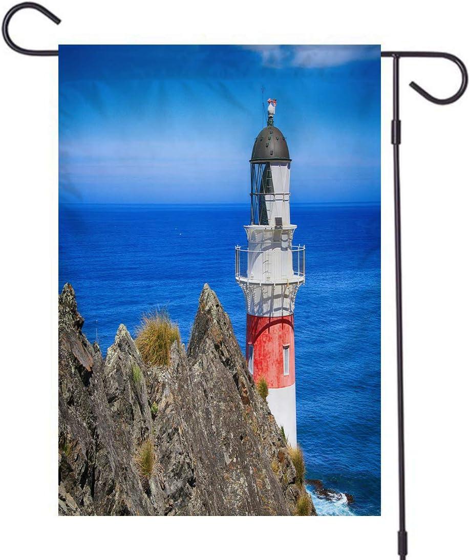 Lighthouse Small Garden Flag, Double Sided,Lighthouse Coast Nautical Searchlight Guidance Coastal Seascape Cape Palliser Lighthouse New Zealand Blue Red White,Welcome Garden Flag,Linen 12x18 inch