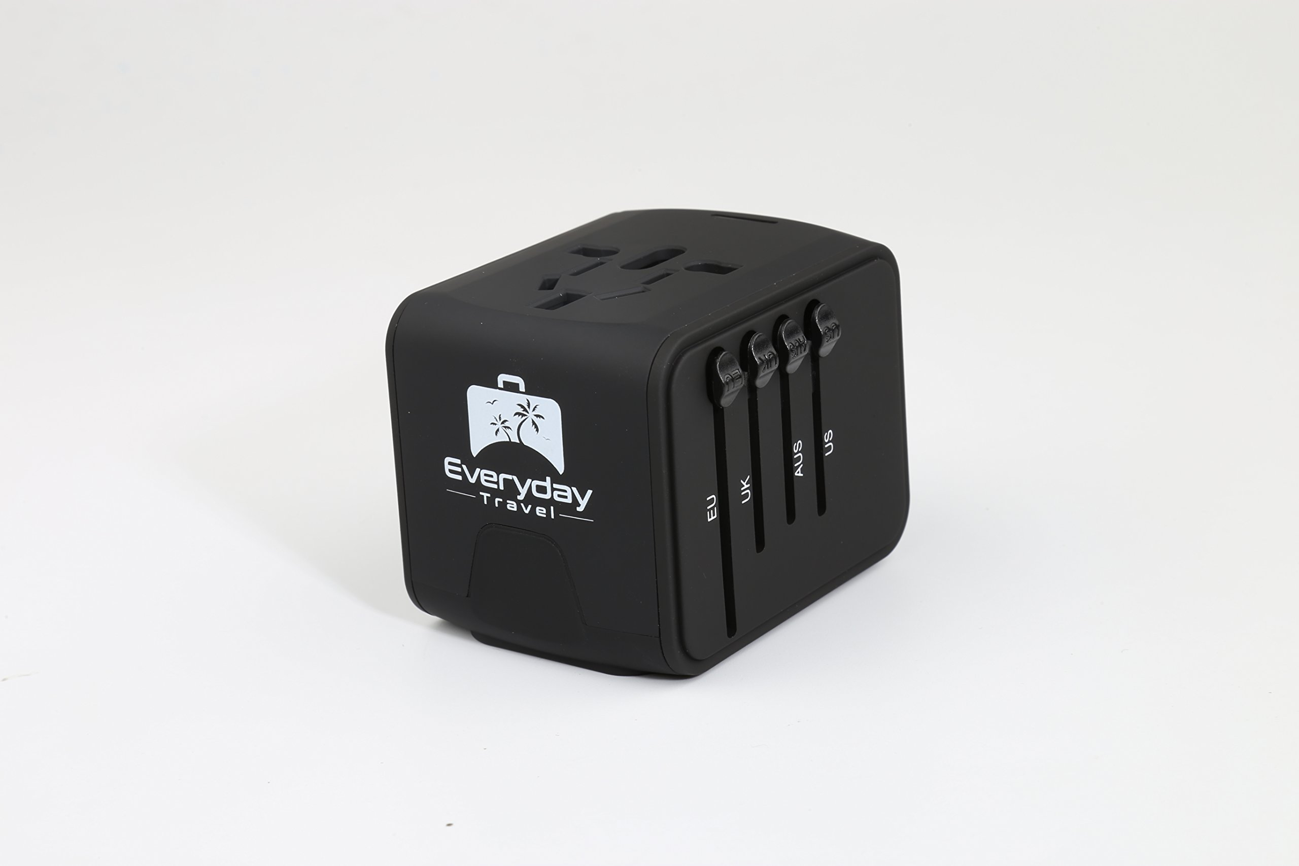 International Compact All-in-one Travel Adapter- 110-220v 4xUSB-black Works worldwide