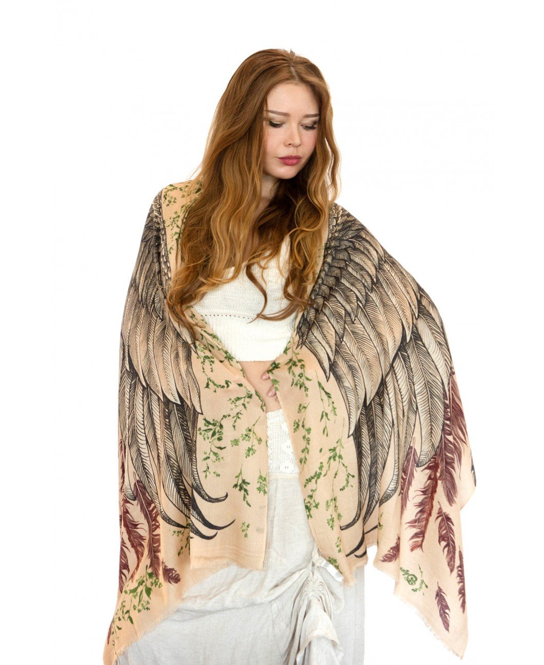 Pure Silk Bohemian Wings Scarf, Summer Wrap, Beach Shawl