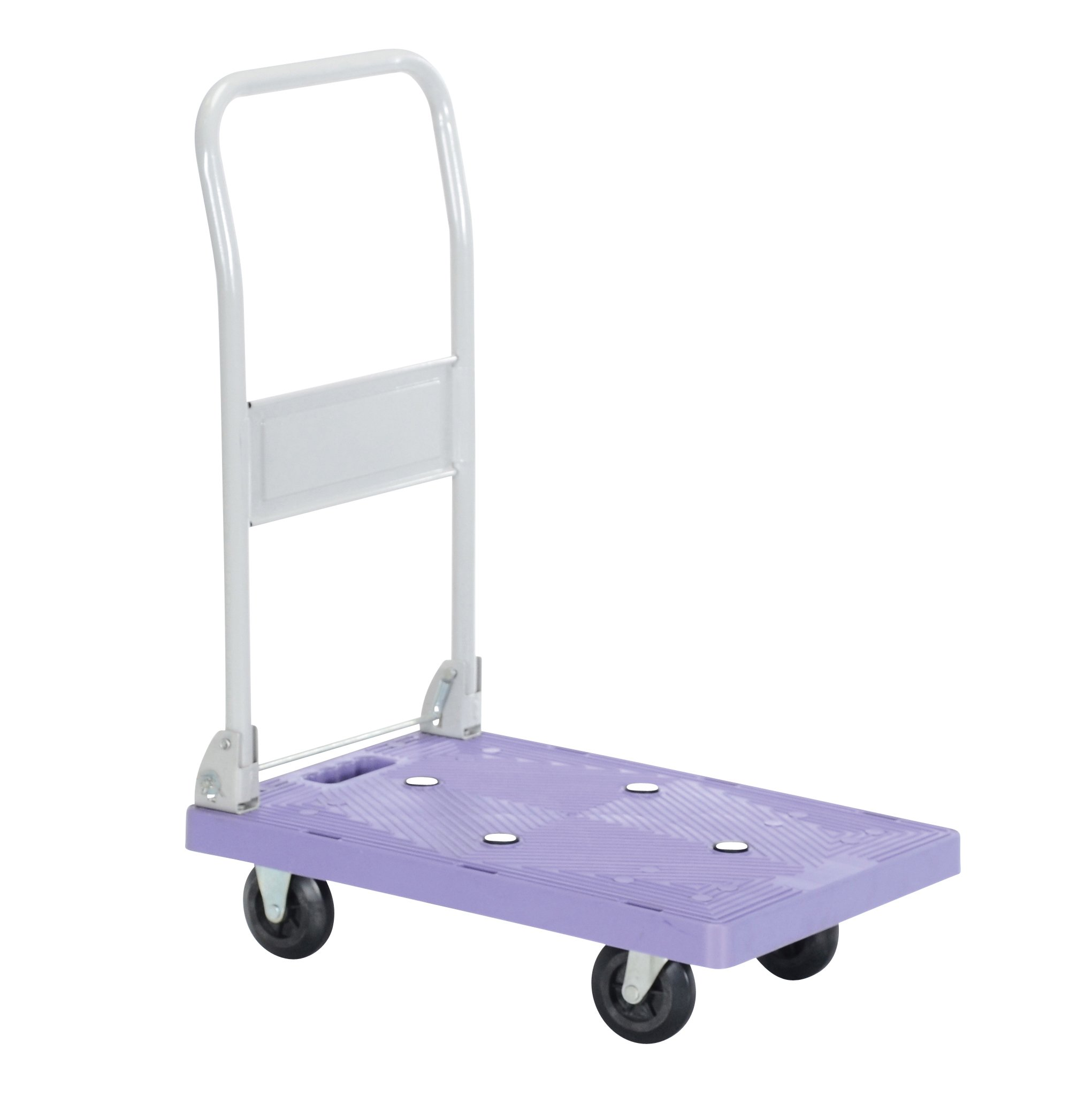 Vestil FPT-1624 Plastic Platform Truck with Fold Down Handle, 250 lbs Capacity, 23-3/4'' Length x 15-3/4'' Width x 5-1/4'' Height Deck