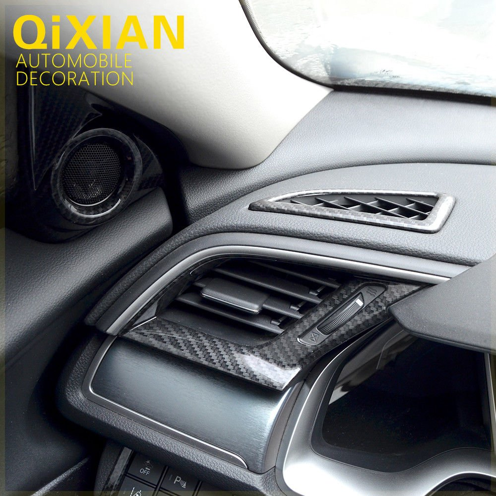 UltaPlay 3pcs Carbon Fiber Style Car AC Vent Cover Air Conditioner Decoration Trim Fit For Honda Civic 2016-2018 Car Accessories Styling