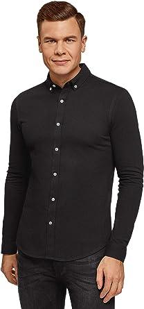 oodji Ultra Hombre Camisa de Punto de Manga Larga