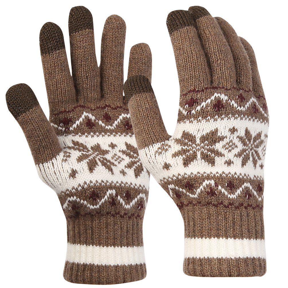 Novawo Winter Plain Flexible Gloves Mittens with Touchscreen Technology