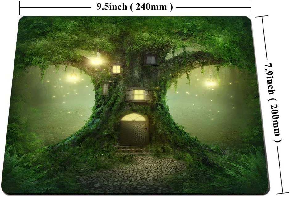 Smooffly Gaming Mouse Pad Custom,Fantasy Tree House in Forest Personality Gaming Mouse Pad