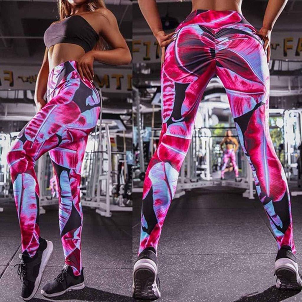 PLENTOP Yoga Pants for Women Mesh Panels, Capri Leggings Women,Women's Fashion Workout Leggings Fitness Sports Gym Running Yoga Athletic Pants Pink by PLENTOP (Image #5)
