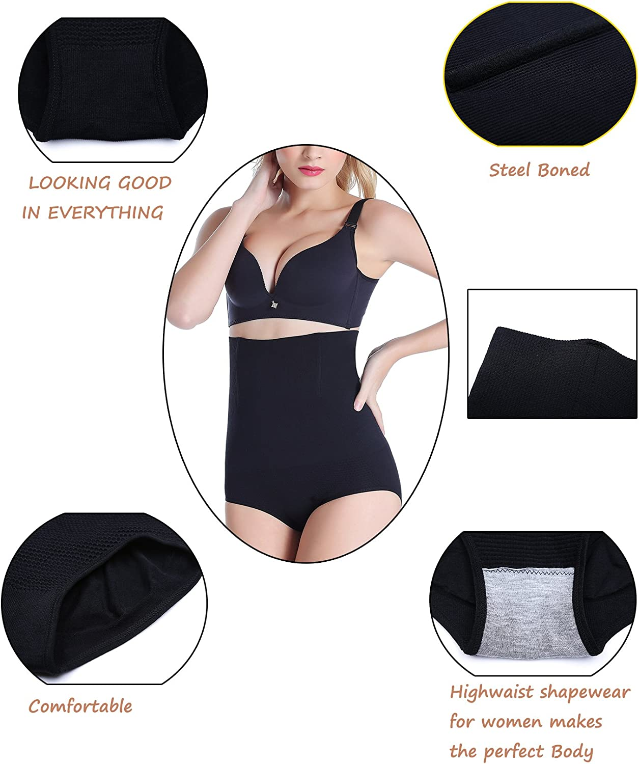Women Waist Trainer Tummy Control Panties Body Shaper High Waisted Shapewear Briefs Butt Lifter Slimming Corset Seamless