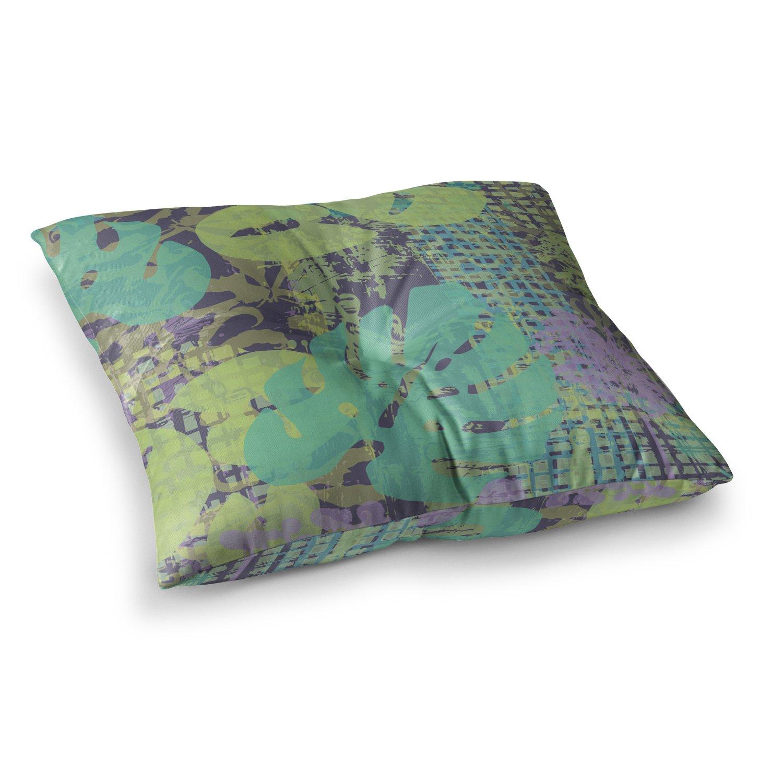 23 x 23 Square Floor Pillow Kess InHouse Chickaprint Verdure Collage Green Teal