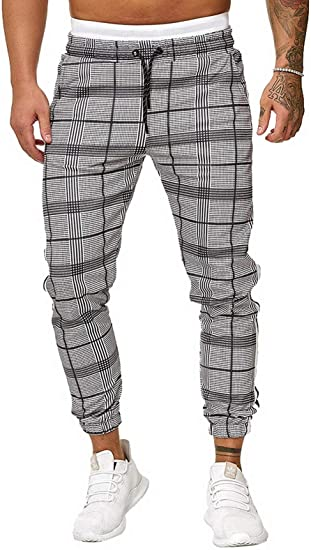 Mens Classic Plaid Pants,Mens Chinos Slim Fit Stretch Flat-Front Skinny Dress Pants Trousers Running Joggers Sweatpants