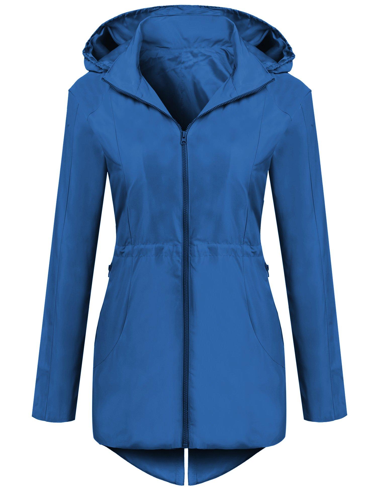 SummerRio Women's Lightweight Zip Up Travel Coat Hiking Coat Packable Jacket (Royal Blue)  XX_Large