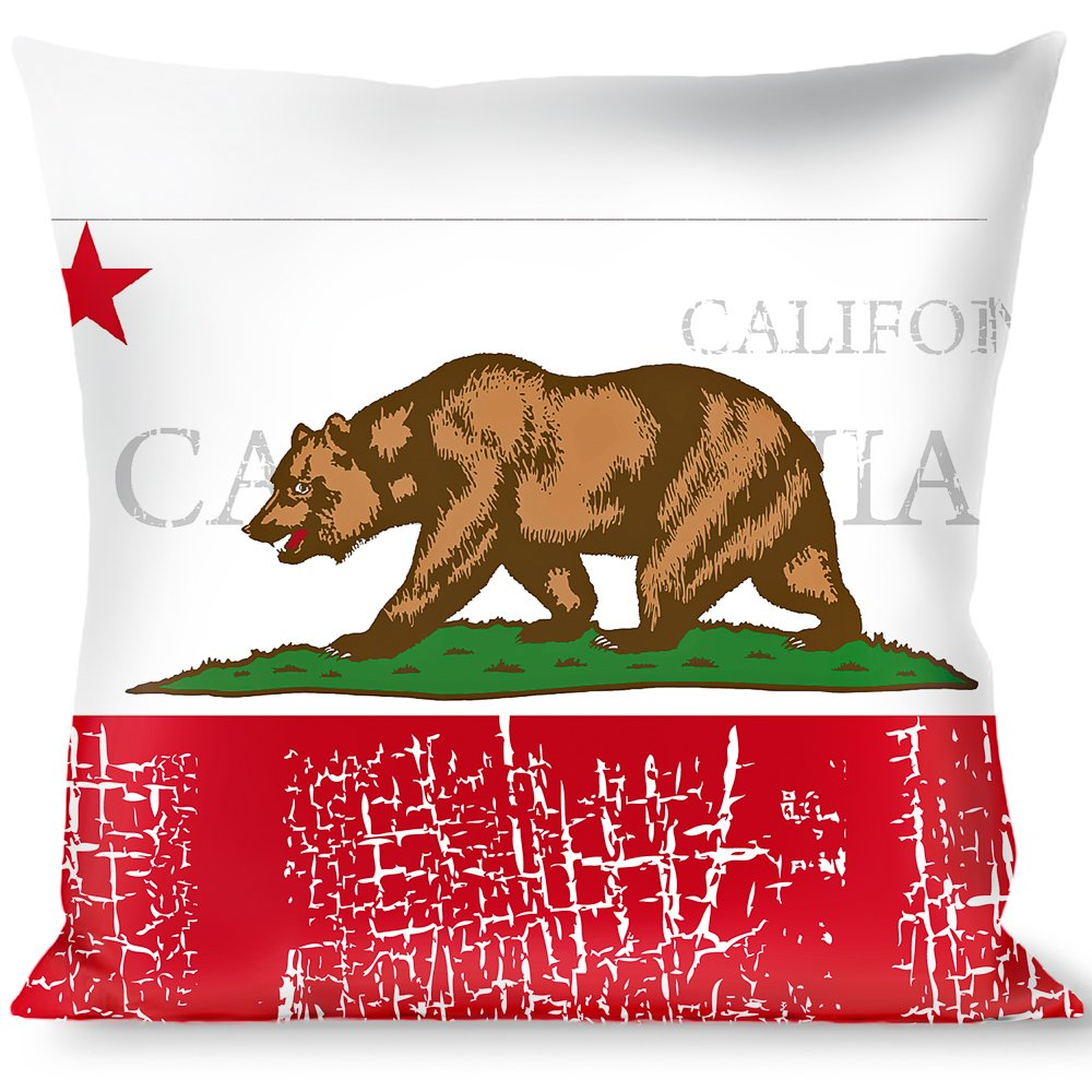 Buckle Down California Bear//Star//Crackle Stripe White//Gray//Red Throw Pillow Multicolor