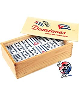 Domino with engraved Cuban Flag Double Nine with 4 wood tile holders and Score pad by