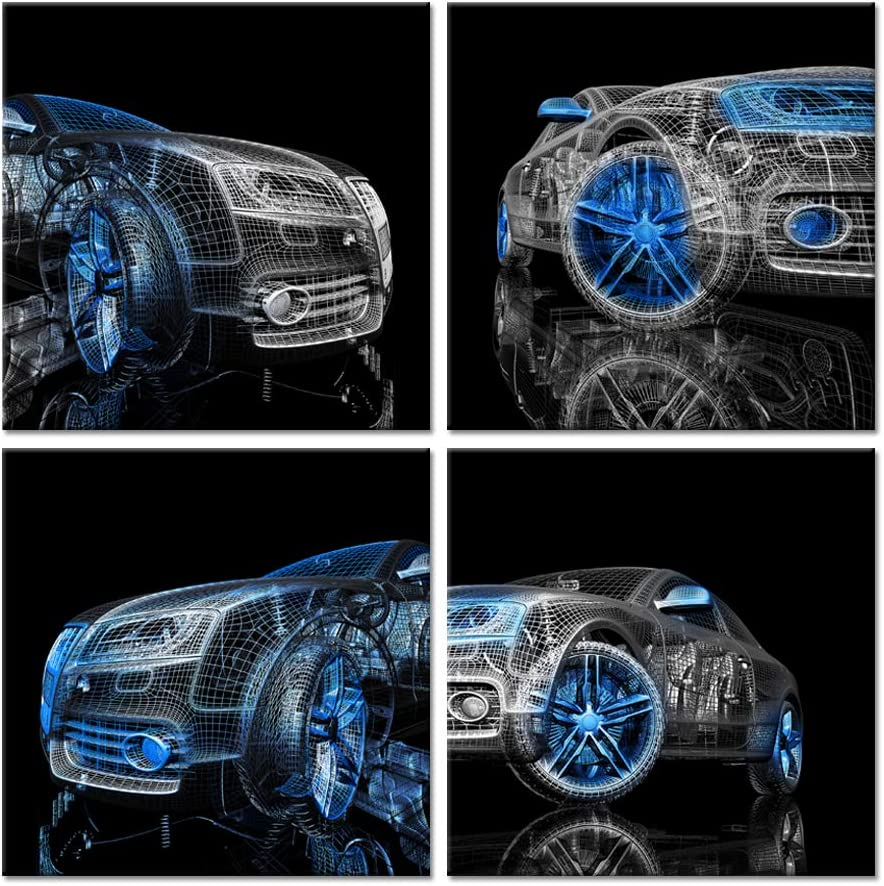 iHAPPYWALL 4 Pieces Modern Car Canvas Wall Art Prints Black and Blue 3D Car Model Cool Picture Print On Canvas Stretched and Framed For Bedroom Boys Room Home Decoration Ready To Hang 12x12inchx4pcs