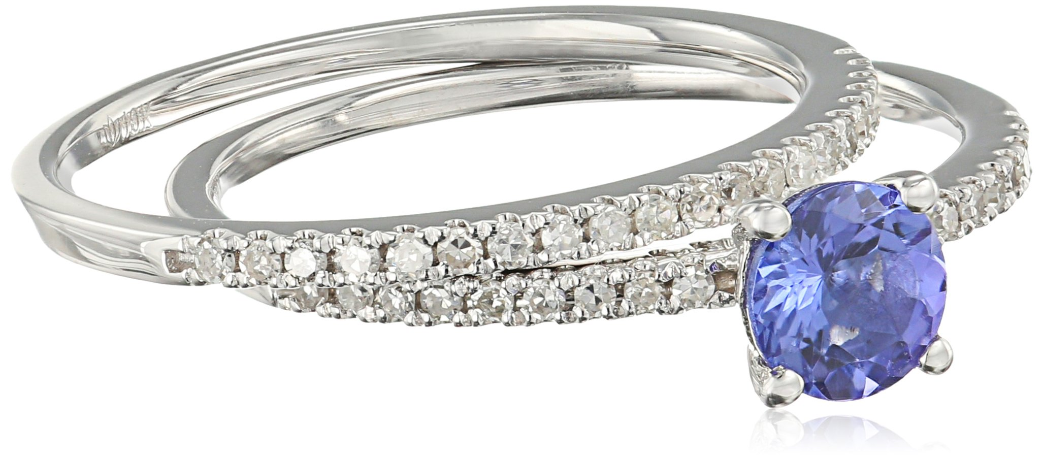 10k White Gold AAA Tanzanite And Diamond Stackable Ring (1/5cttw, H-I Color, I1-I2 Clarity), Size 7