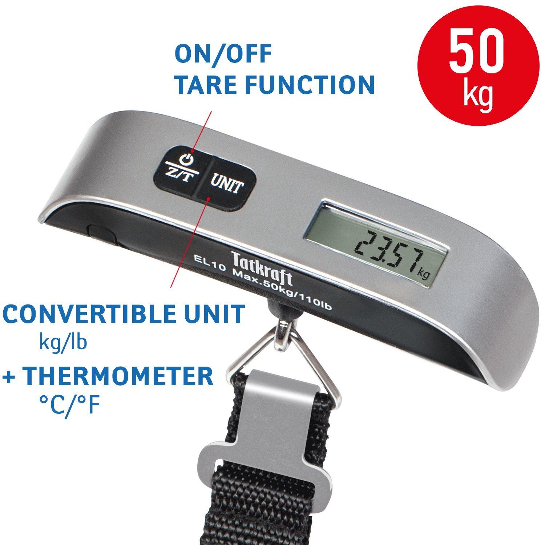 Tatkraft Approved Pèse Bagage Electronique/Balance numérique Portable, 50Kg, Fonction Température, Piles fournies, Gris/Noir