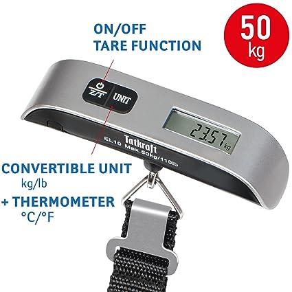 Tatkraft Approved Báscula Digital Portable para Equipaje Acero Inoxidable Tamaño de Bolsillo 50 kg