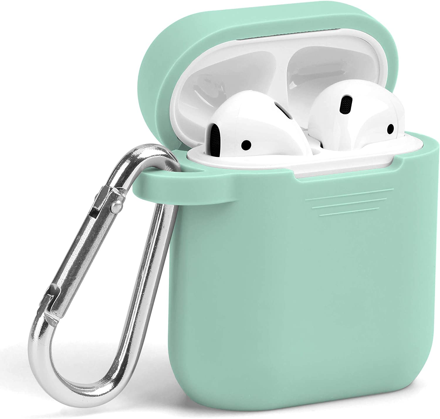 AirPods Case, GMYLE Silicone Protective Shockproof Wireless Charging Airpods Earbuds Case Cover Skin with Keychain Set Compatible for Apple AirPods 2 & 1 - Mint Green