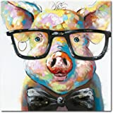 Amazon Com Seven Wall Arts 100 Hand Painted Oil Painting Cute Pig