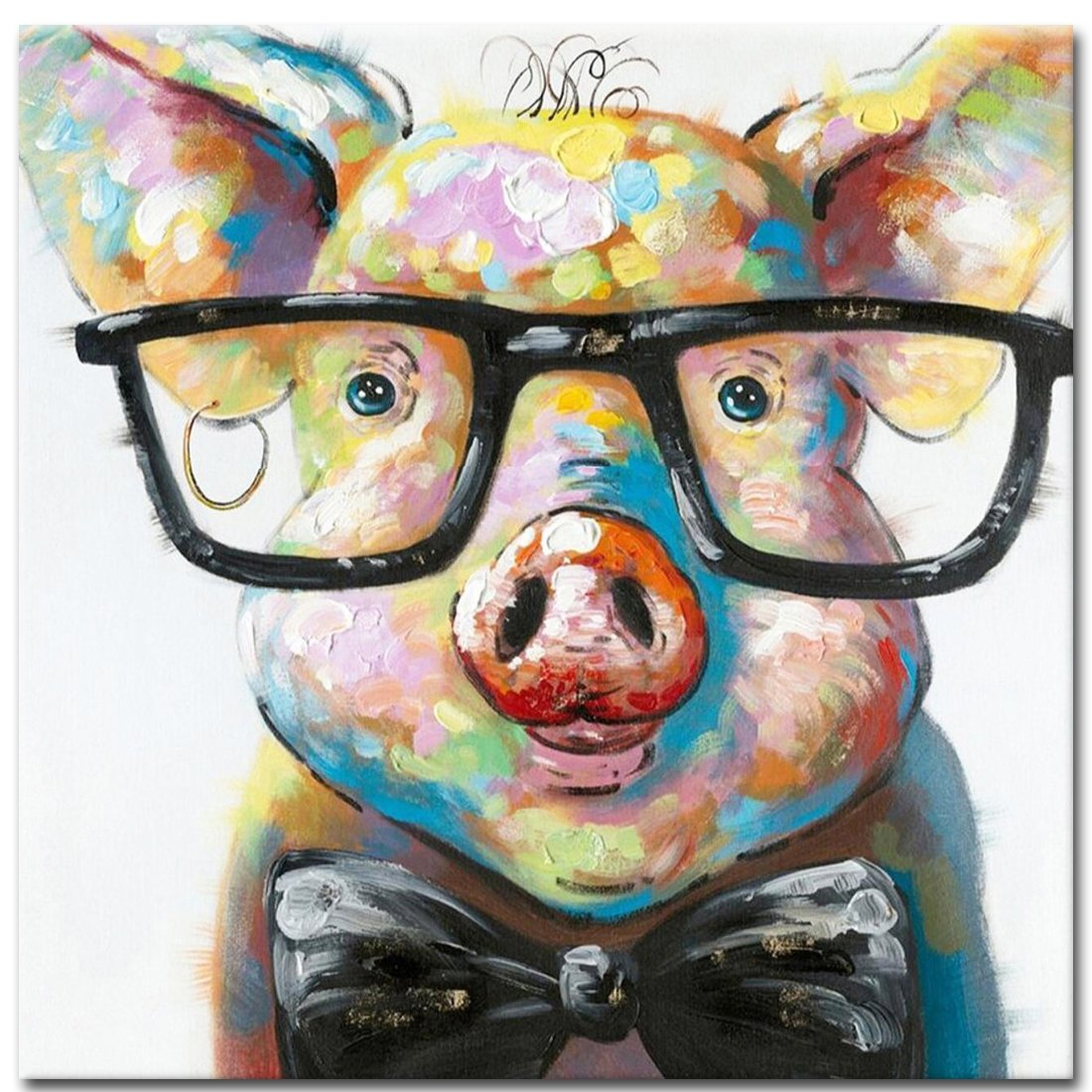 Muzagroo Art Cut Pig with Glasses Paintings for Living Room Hand Painted Paintings Stretched Ready to Hang(24x24in)