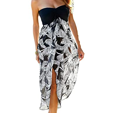 b917dc6b7d Uranus Women Summer Baggy Loose Slit Feather Print Slit Strapless Bardot  Maxi Beach Dress Black S