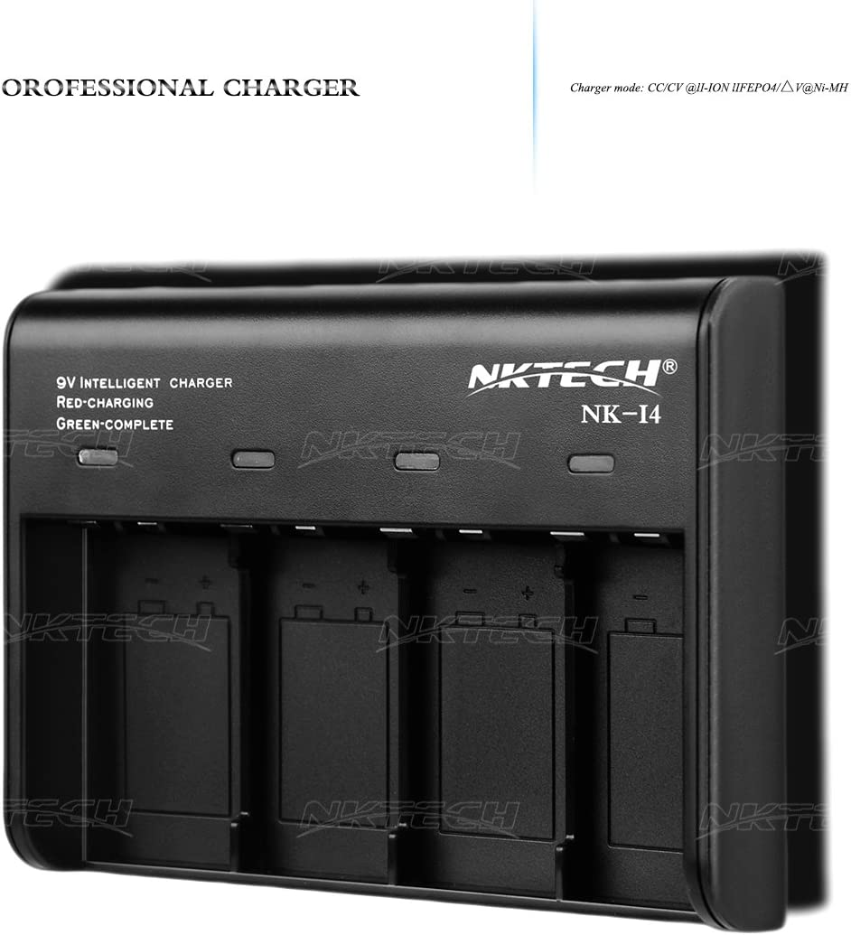 NKTECH NK-I4 Battery Charger 9V 6F22 Auto 4-Slots For CC//CV Li-ion Ni-MH LiFePO4