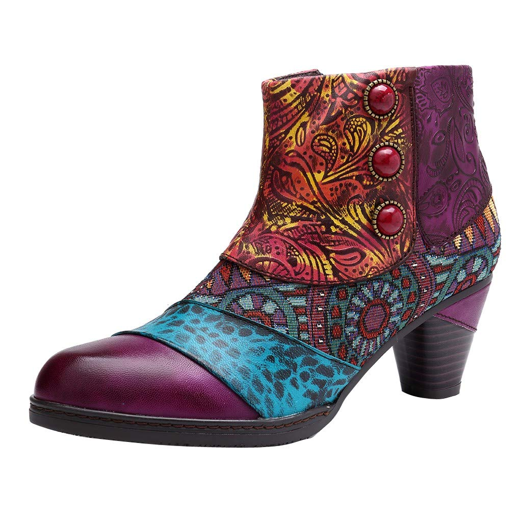 VigorY Ankle Bootie for Women, Leather Boots Vintage Fashion Short Boots Side Zipper Floral Pattern Bohemian Boots by VigorY ❤️ BLACK FRIDAY SALE