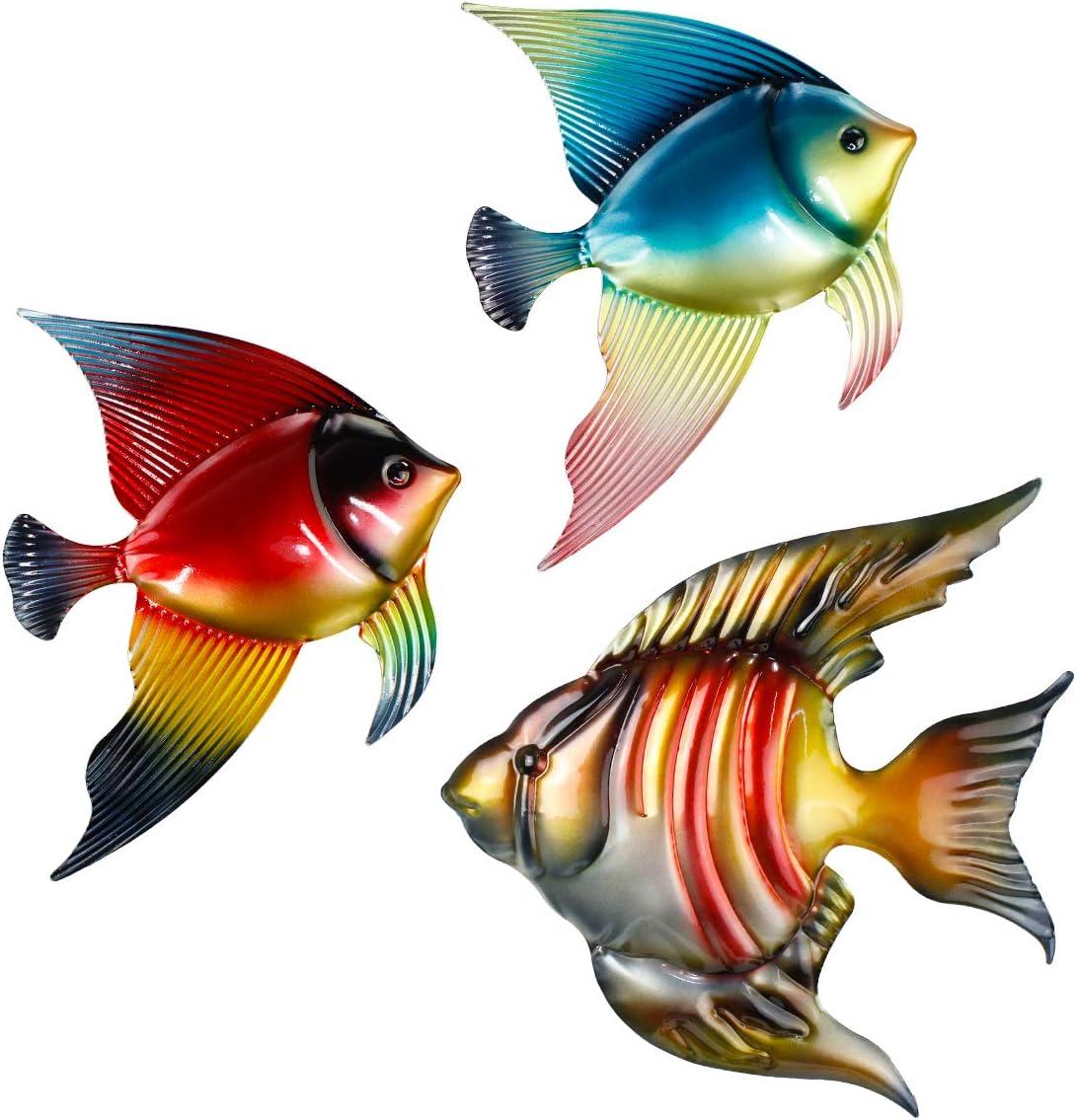 FANWNKI Set of 3 Metal Fish Wall Decor Art Outdoor Indoor Sculpture Hanging for Pool Home Porch Fence Garden
