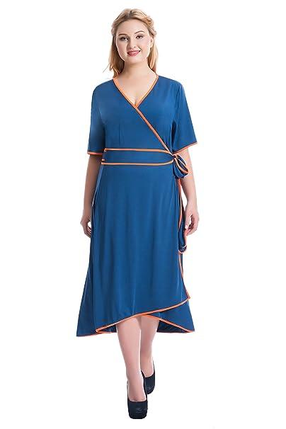 Myfeel Plus Size High Low Kimono Robes Style Dress Tie Waist Casual